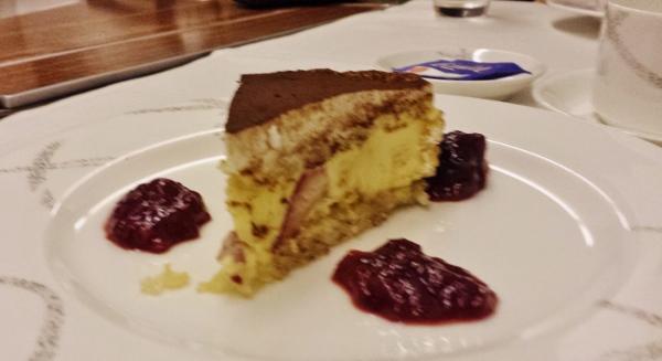 Cathay Pacific First Class JFK YVR Dinner strawberry vanilla cake
