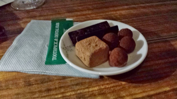Cathay Pacific First Class JFK YVR after dinner chocolate