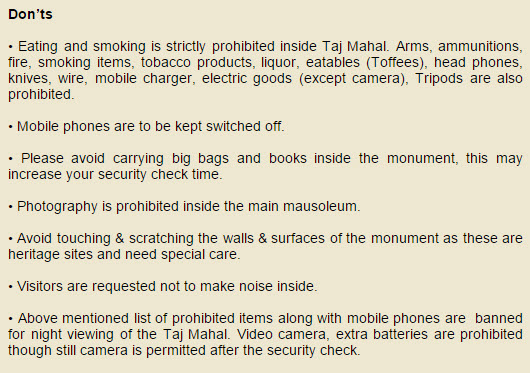 Taj Mahal Agra Banned Items website