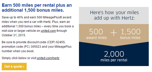 Hertz United 1500 mile offer