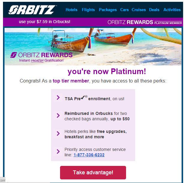 orbitz rewards platinum status email