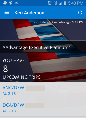 American Airlines Mobile App Duplicate Reservations