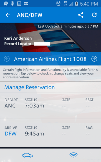 American Airlines Mobile App Reservation Glitch