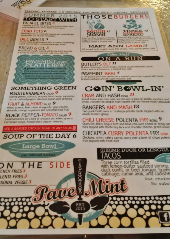 Pavemint Front Royal Review Menu