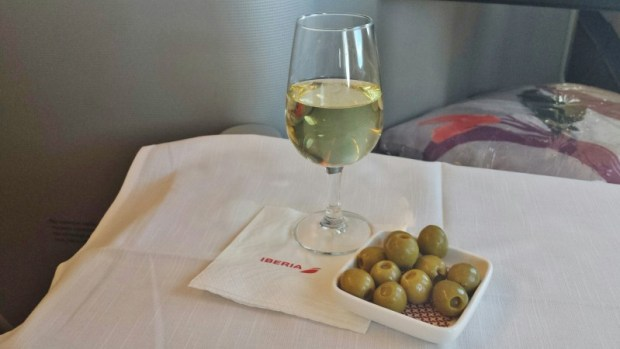 Iberia business class review jfk-mad champagne olives