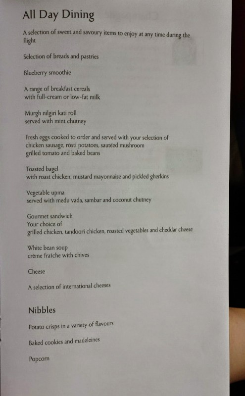 Jet Airways Etihad First Class JFK-AUH all day dining menu