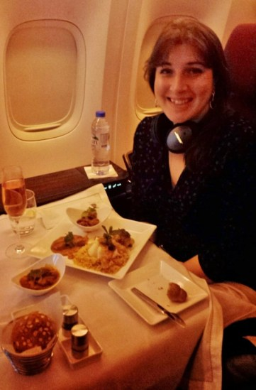 Jet Airways Etihad First Class JFK-AUH dinner Keri