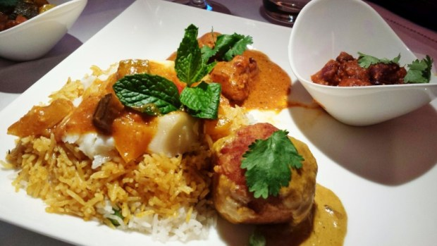 Jet Airways Etihad First Class JFK-AUH in flight chef entree selection