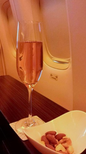 Jet Airways Etihad First Class JFK-AUH rose champagne and nuts