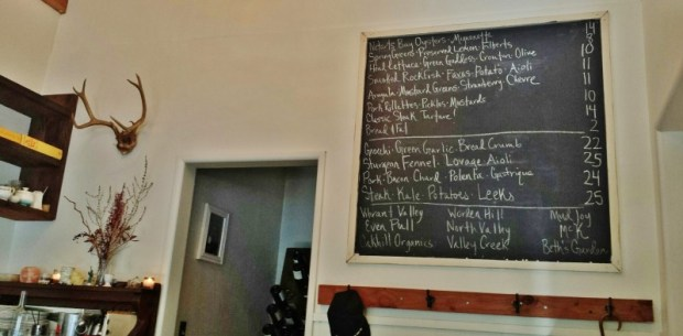 Thistle McMinnville Restaurants wall menu