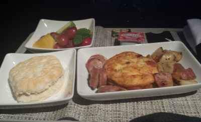 American Airlines airplane meal breakfast