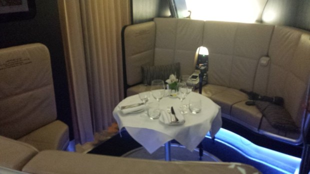 Etihad A380 First Apartment JFK-AUH inaugural seating area