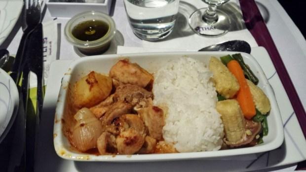 Thai Airways Business Class Chennai Bangkok chicken curry