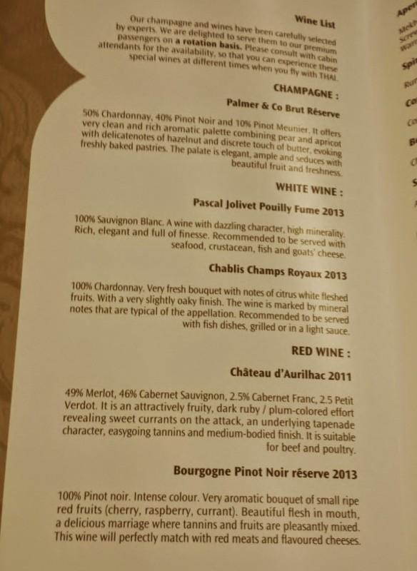 Thai Airways Business Class Chennai Bangkok wine list