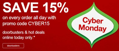 cyber monday target 15 off sitewide