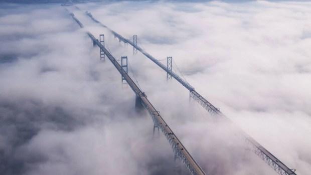 chesapeake bay bridge fog photo credit Joe Fox