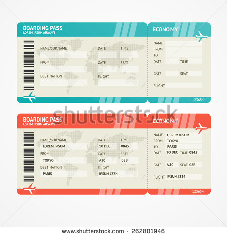 Boarding pass templates for invitations gifts shutterstock boarding pass template fake plane ticket pronofoot35fo Image collections