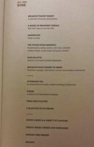 Etihad Airways First Apartment AUH-JFK dinner menu entrees