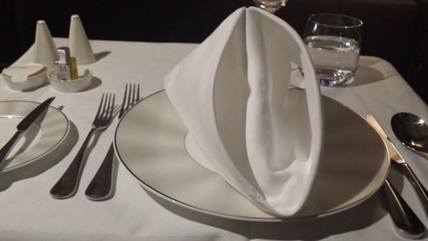 Etihad Airways First Apartment AUH-JFK dinner setting