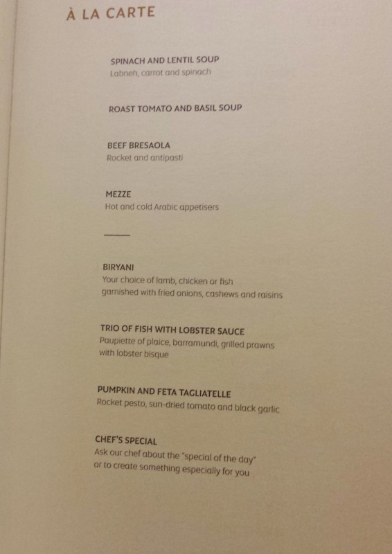 Etihad Airways First Apartment AUH-JFK menu