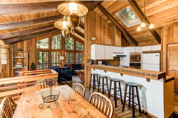The redwoods cabin kitchen dining
