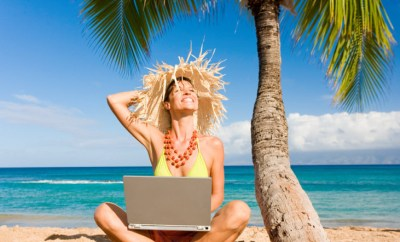 woman working on vacation