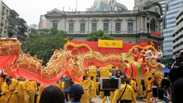 Chinese New Year Macau Senado Square Celebration dragon center
