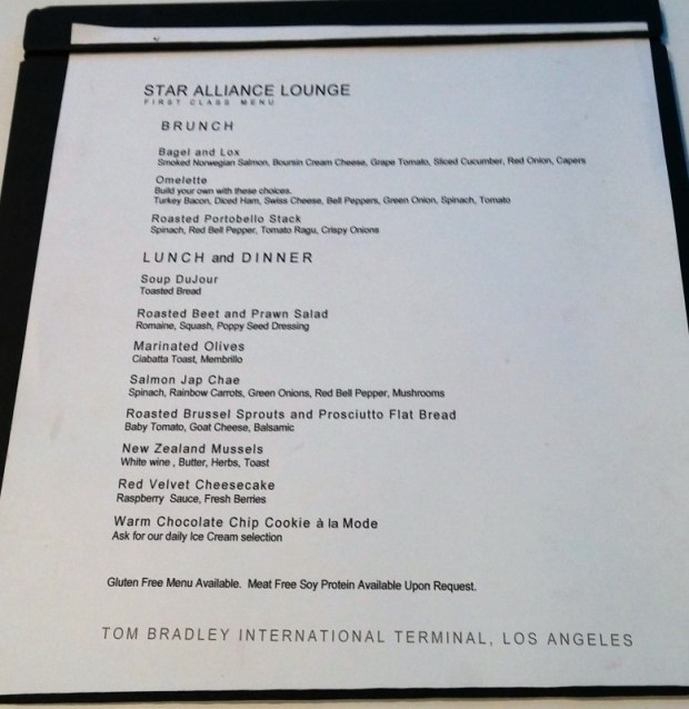 LAX Star Alliance First Class Lounge Menu