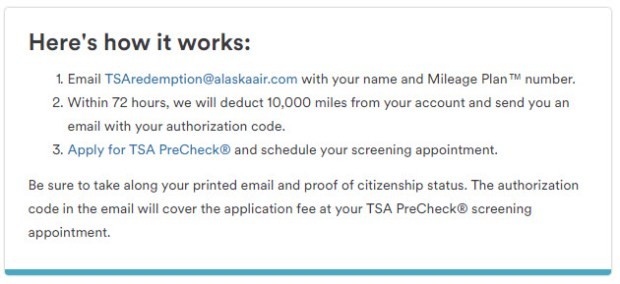 Alaska airlines how to redeem miles for tsa pre check