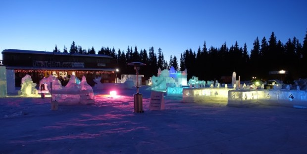 Fairbanks Ice Park Ice Scuplture Championships kid ice park at night
