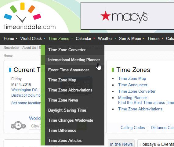 Timeanddate website navigation