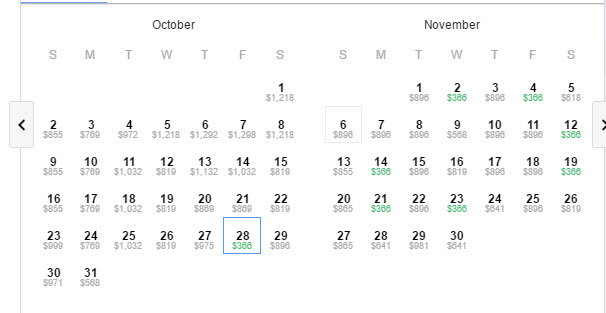 Google Flights New Zealand qantas deal oct nov calendar