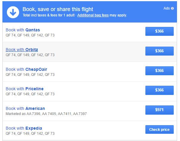 Google Flights New Zealand qantas deal