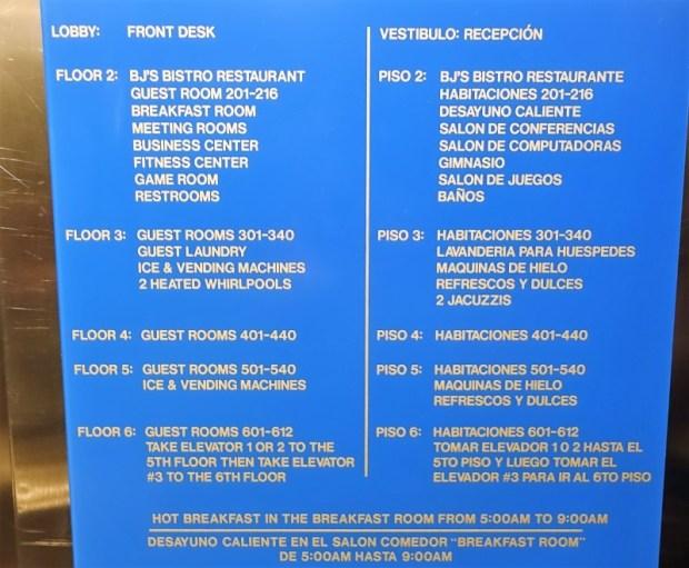 San Juan Airport Hotel Review elevator sign
