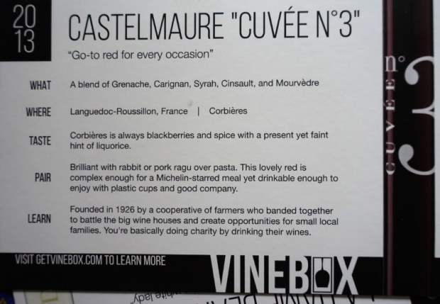 April Vinebox Review Castelmaure Cuvee