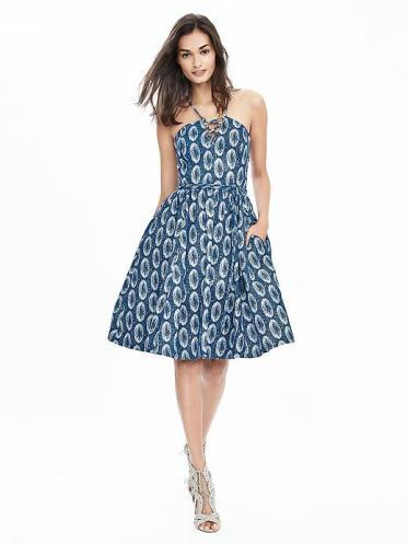 Banana Republic Print Lace Up Dress