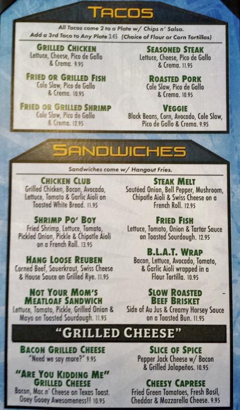 the hangout bar & grill seal beach restaurants menu
