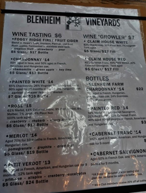 Dave Matthews Wine tasting sheet Charlottesville Wineries