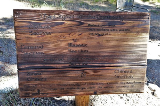 Idaho City Pioneer Cemetery Boot Hill wooden map