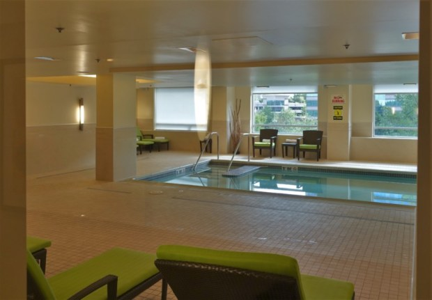 The Westin Dulles indoor pool, as seen through the door.