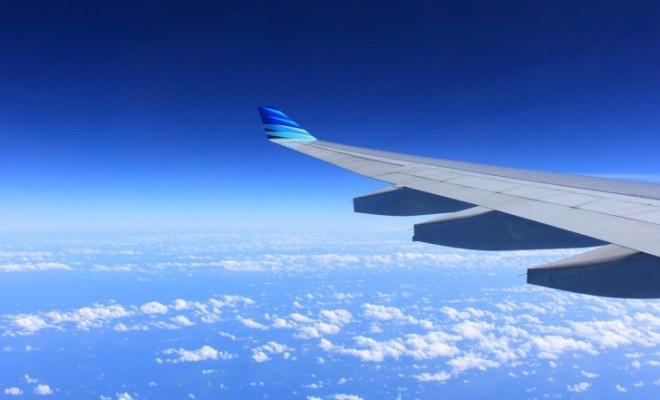 plane wing inflight