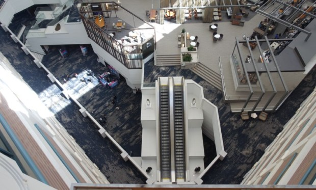 hyatt regency san francisco airport renovated atrium elevators