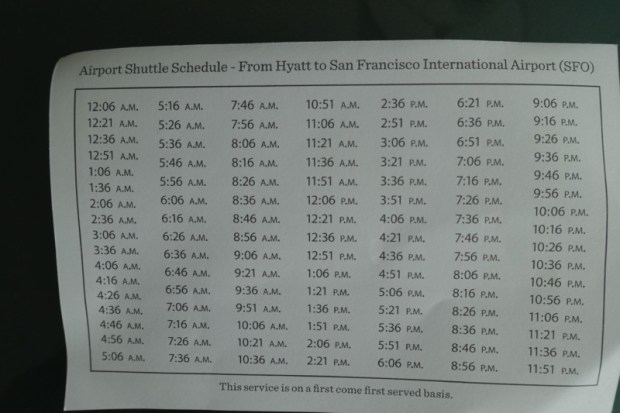 Hyatt Regency SFO shuttle schedule