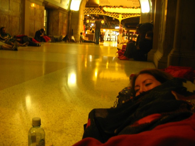 Sleeping in King's Cross Station