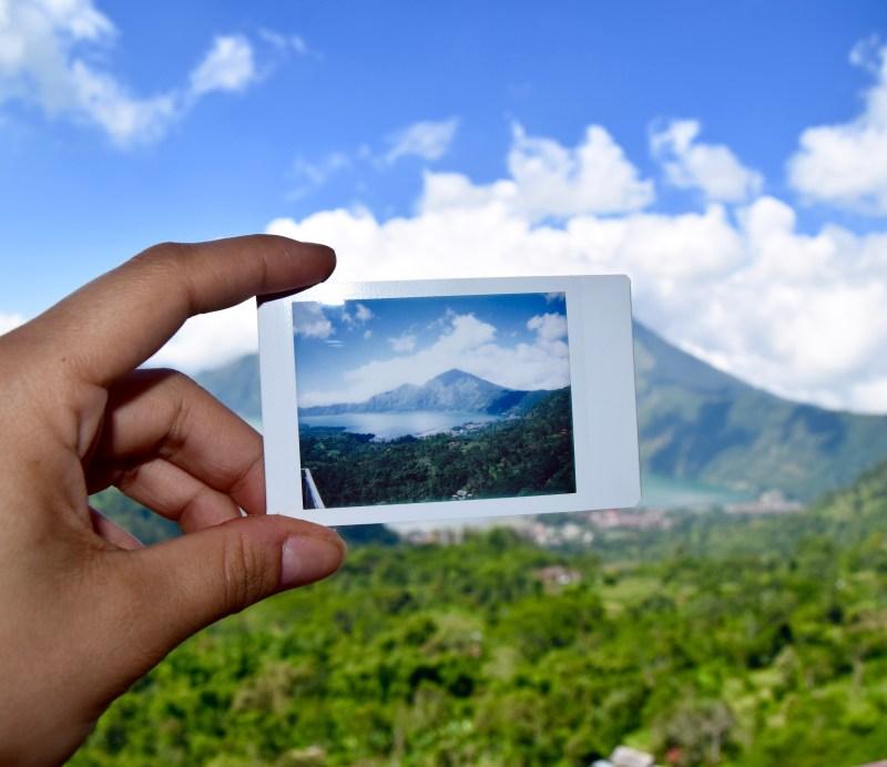 Instax snap overlooking Mount Batur, Bali