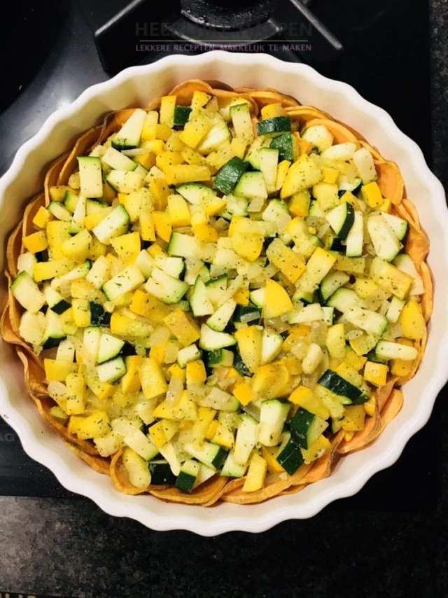 zoete aardappel met feta quiche