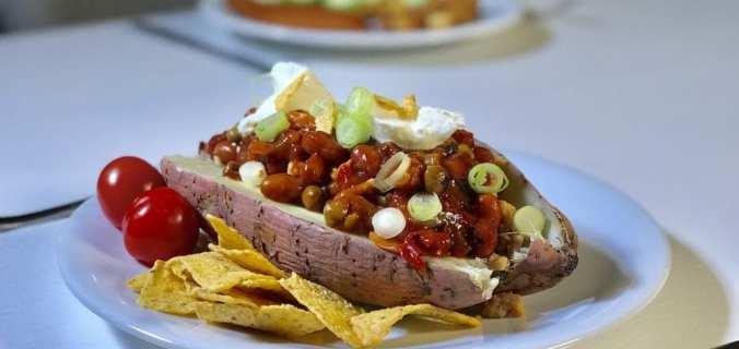 Gepofte zoete chili aardappel