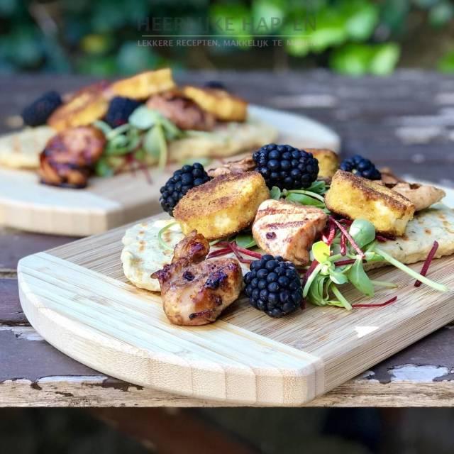Gemarineerde kip met gebakken geitenkaasjes