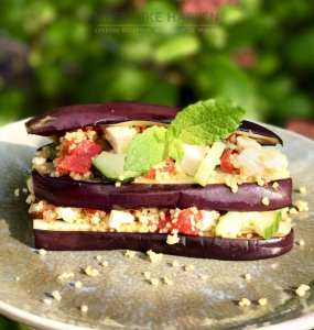 Gegrilde aubergine met couscous salade