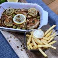 Limoenkip uit de oven met friet